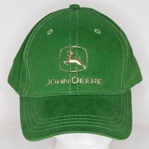 John Deere Green Adjustable Strapback Hat Lot of 2